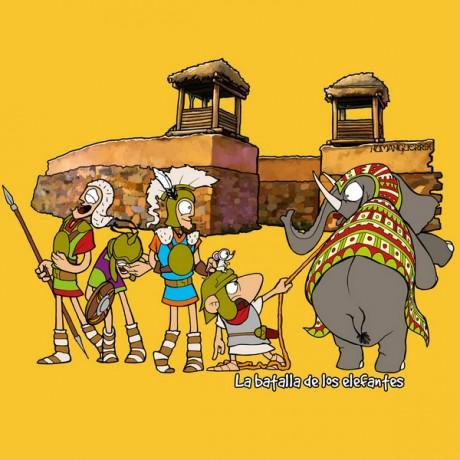 Diseño divertido de venta online la batalla de los elefantes